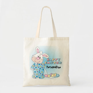 Tote Bag Lapin de Pâques heureux avec des oeufs de pâques
