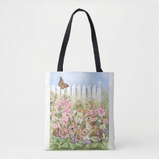 Tote Bag Lapins dans le jardin