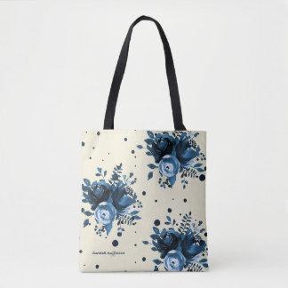 Tote Bag L'aquarelle bleue florale avec des points et