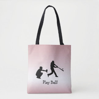 Tote Bag Le base-ball rose Girly de boule de jeu folâtre le