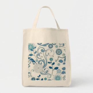 Tote Bag Le bleu tourbillonne des fleurs d'anf