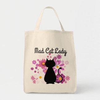 """Tote Bag Le chat """"de Madame folle de chat"""" dans le rose"""