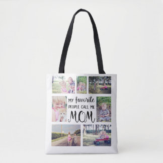 Tote Bag Le collage de photo de maman mes personnes
