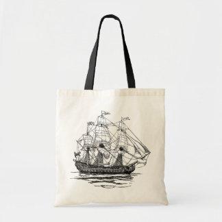 Tote Bag Le cru pirate le galion, croquis d'un bateau