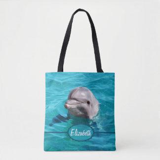 Tote Bag Le dauphin dans l'eau bleue personnalisent