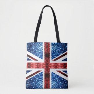 Tote Bag Le drapeau BRITANNIQUE rouge et le bleu miroite