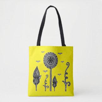 Tote Bag Le henné a inspiré le jaune magique de fourre-tout