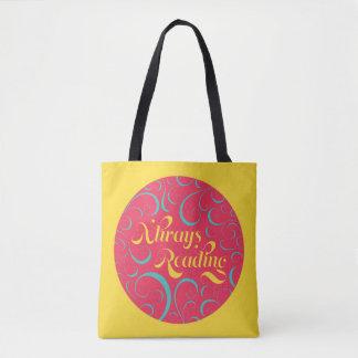 Tote Bag Le jaune bleu rose tourbillonne toujours lecture