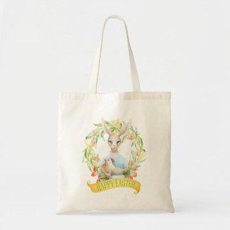 Tote Bag Le lapin et la tulipe tressent Joyeuses Pâques