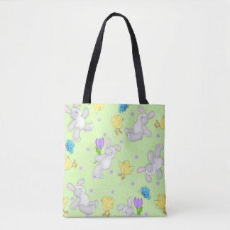 Tote Bag Le lapin et le poussin en pastel joyeux
