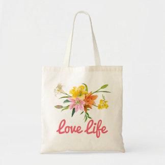 Tote Bag Le lis floral d'attitude fleurit le rose, orange,