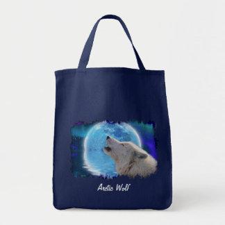 Tote Bag Le loup et la lune arctiques d'hurlement portent
