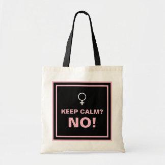 Tote Bag Le texte rose maintiennent le calme aucun