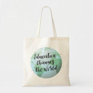 Tote Bag L'éducation change la citation du monde avec le