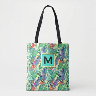 Tote Bag Les colibris d'aquarelle | ajoutent votre initiale
