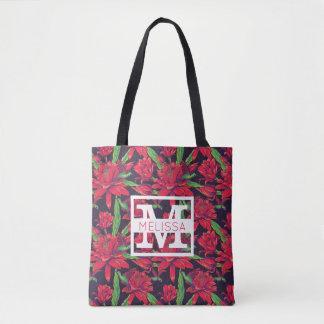 Tote Bag Les fleurs et les colibris | ajoutent votre nom