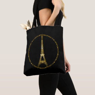 Tote Bag Les parties scintillantes d'or de Tour Eiffel