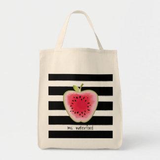 Tote Bag Les rayures d'Apple de pastèque ont personnalisé