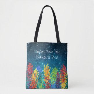 Tote Bag Les rêves lumineux de nuit étoilée de fleurs