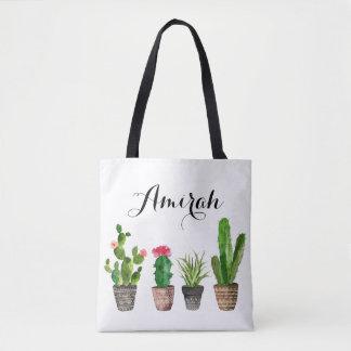 Tote Bag Les Succulents d'aquarelle de Boho ont
