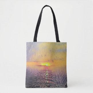 Tote Bag Lever de soleil peint assez artistique de paysage