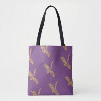 Tote Bag Libellule Fourre-tout (pourpre et or)
