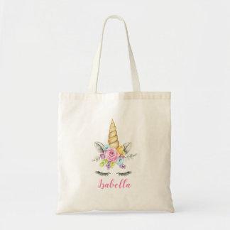 Tote Bag Licorne florale d'aquarelle personnalisée