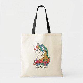 Tote Bag Licorne mignonne d'arc-en-ciel d'aquarelle
