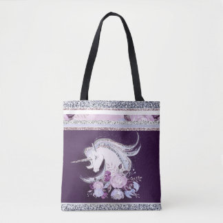 Tote Bag Lignes argentées pourpres de jolie licorne
