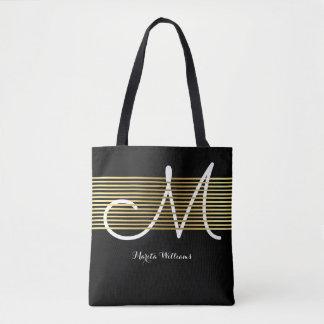 Tote Bag lignes entrelacées décorées d'un monogramme d'or