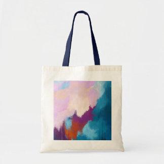 Tote Bag Lilas avec la peinture abstraite moderne d'Aqua -