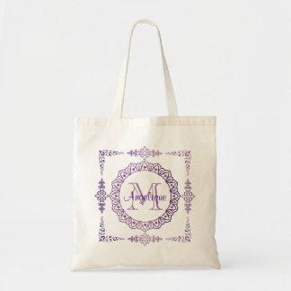 Tote Bag Lilas Girly de bijou de cadre de monogramme de