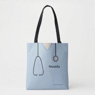 Tote Bag L'infirmière médicale frotte AOPMT bleu-clair