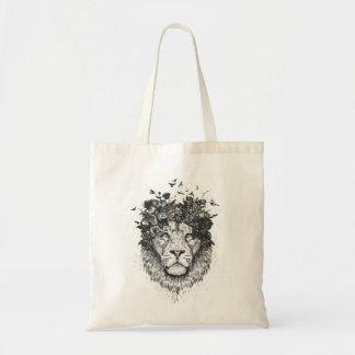 Tote Bag Lion floral (noir et blanc)