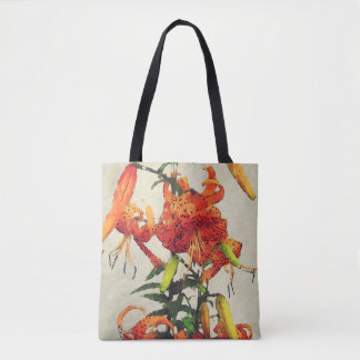 Tote Bag Lis tigré orange 1 d'aquarelle