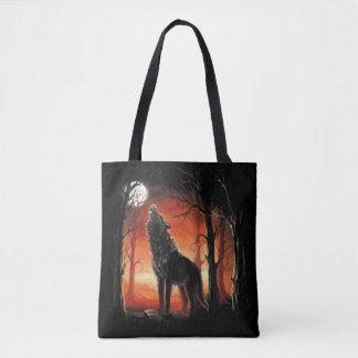 Tote Bag Loup d'hurlement au coucher du soleil tout plus de