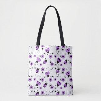 Tote Bag Madame pourpre Bug Floral Teen Girl de coccinelle