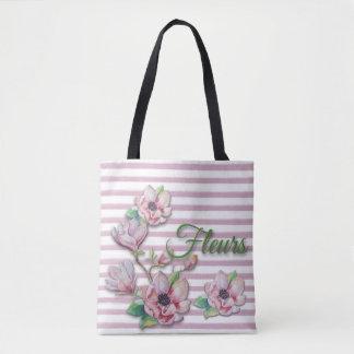 "Tote Bag Magnolias roses florales ""Fleurs "" d'aquarelle"