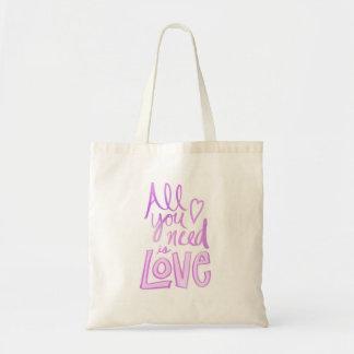 Tote Bag Main marquée avec des lettres, amour rose