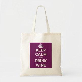 Tote Bag Maintenez vin calme et de boissons