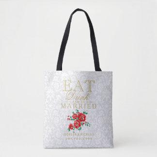 Tote Bag Mangez, boisson et soyez marié - les fleurs rouges