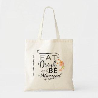 Tote Bag Mangez la boisson et soyez les pivoines mariées de