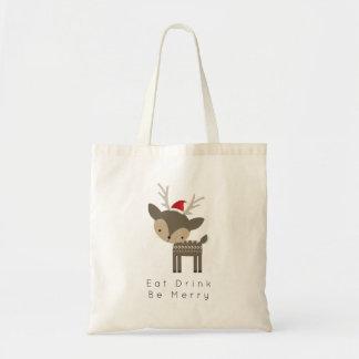 Tote Bag Mangez la boisson soit des cerfs communs de Joyeux