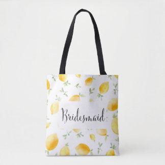 Tote Bag Mariage à la mode de citron d'aquarelle