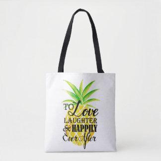 Tote Bag Mariage de rire d'amour d'aquarelle d'ananas