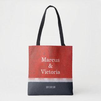 Tote Bag Mariage moderne de peinture rouge d'émail