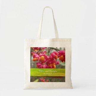 Tote Bag Mariage personnalisé par fleurs roses d'axe