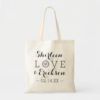 Tote Bag Mariage simple pourpre d'amour