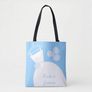 Tote Bag Marié bleu de jeune mariée de robe de mariage