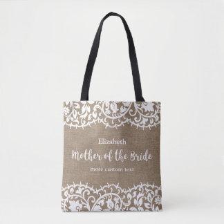 Tote Bag Mère de la coutume rustique de toile de jute de